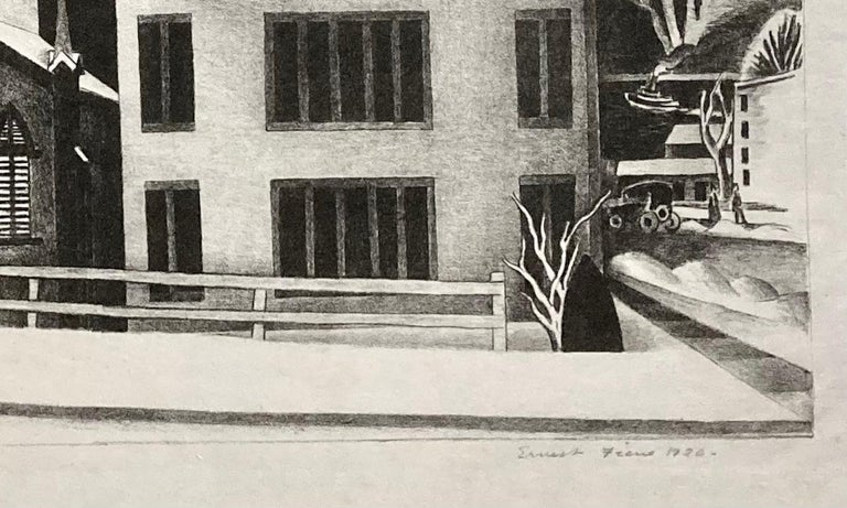 Dyckman Street Church (NYC) - Black Figurative Print by Ernest Fiene