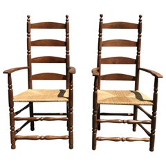 Ernest Gimson, a Pair of Yew Wood Ladder Back and Bobbin Turned Armchairs