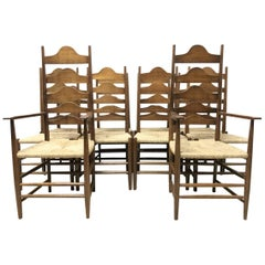 Ernest Gimson, Ten Arts & Crafts Cotswold School Oak Ladder Back Dining Chairs