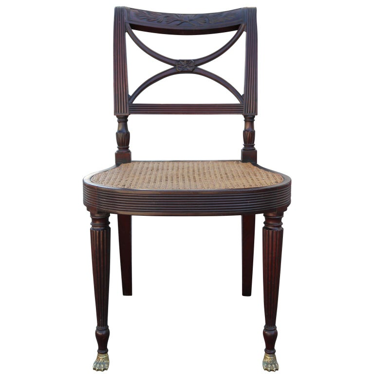 Ernest Hagen Sheraton Duncan Phyfe Style Chair, circa 1895 In Good Condition For Sale In Houston, TX