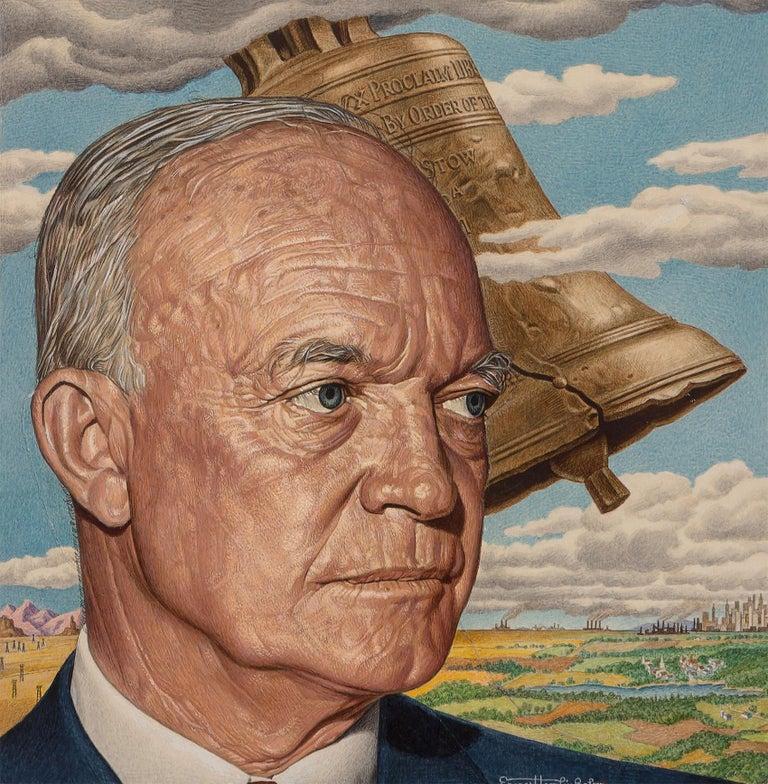 Ernest Hamlin Baker Figurative Painting - Eisenhower Liberty Bell, Time magazine cover  July 4, 1955 ( alternate)