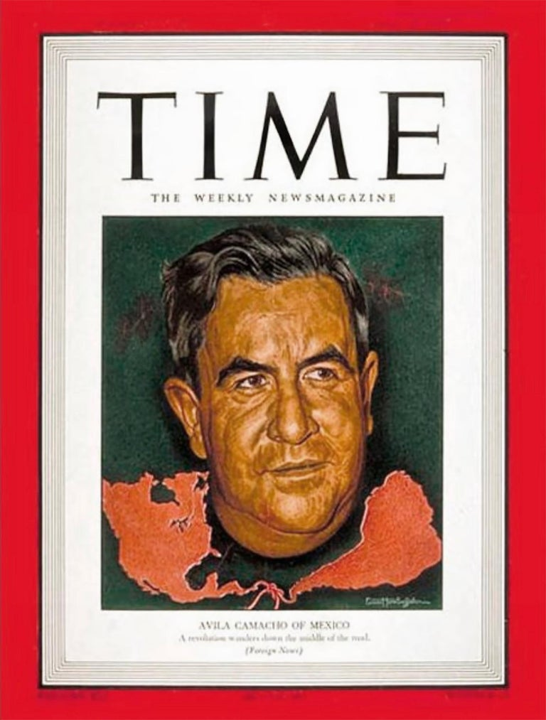 Manuel Avila Camacho, Time magazine cover, - Journalist Portraiture - Realist Painting by Ernest Hamlin Baker