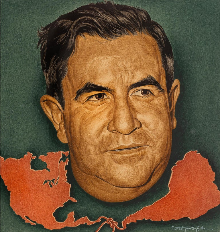 Ernest Hamlin Baker Portrait Painting - Manuel Avila Camacho, Time magazine cover, - Journalist Portraiture