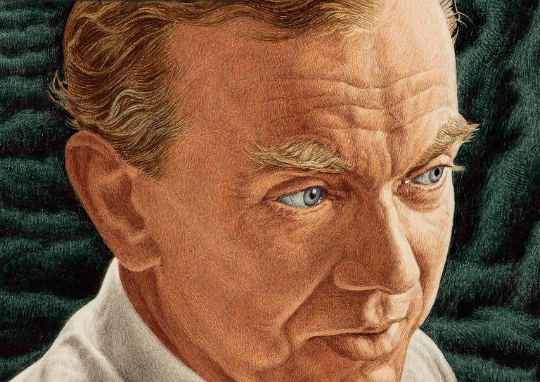 Novelist Graham Green. Time magazine Cover Illustration - Painting by Ernest Hamlin Baker