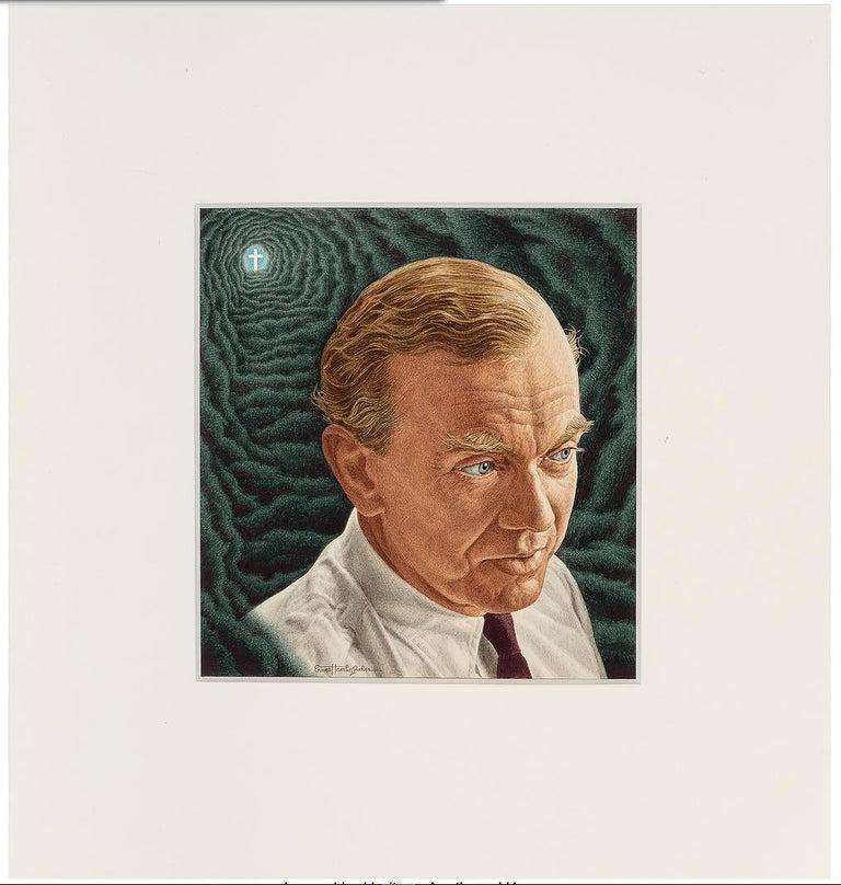 Novelist Graham Green. Time magazine Cover Illustration - Photorealist Painting by Ernest Hamlin Baker