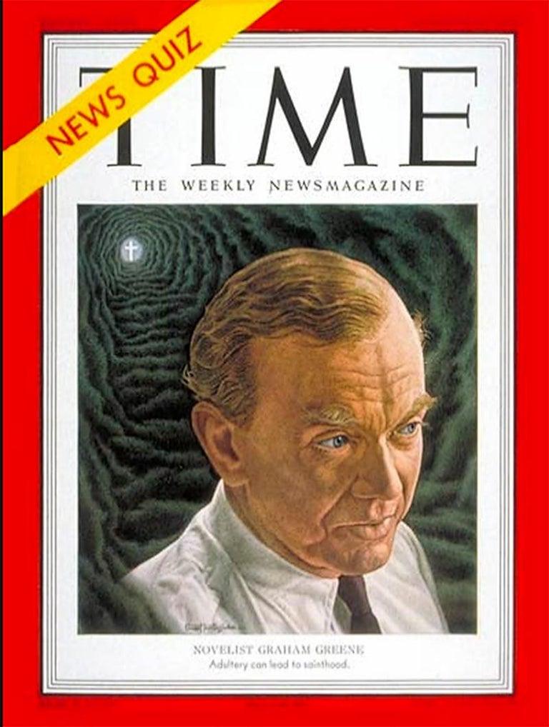 Novelist Graham Green. Time magazine Cover Illustration - Black Figurative Painting by Ernest Hamlin Baker