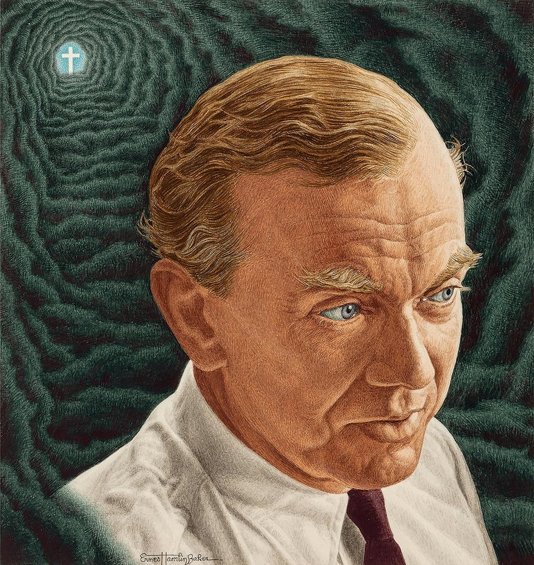 Ernest Hamlin Baker Figurative Painting - Novelist Graham Green. Time magazine Cover Illustration