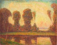 Impressionist oil, 'Lake Sunset Landscape', AIC, ASL, Smithsonian