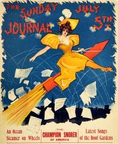Original Antique Poster Sunday Journal July 5th Fireworks Belle Epoque Design