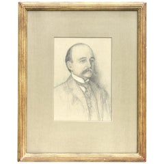 Ernest Haskell '1876-1925' Gentleman with a Moustache, Pencil on Paper