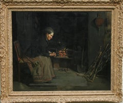 A Kitchen Interior - British Staithes oil painting lady fire Victorian genre art