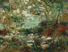 Trees and Rocks, Antique Vintage Ashcan American Impressionism Landscape