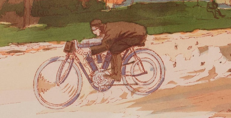 A rare and original turn of the 20th C lithograph of classic motorcycle race - Gray Figurative Print by Ernest Montaut