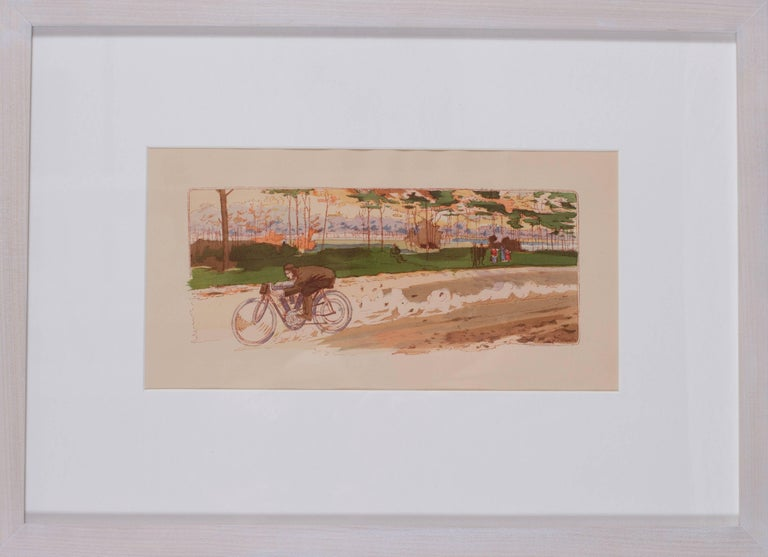 Ernest Montaut Figurative Print - A rare and original turn of the 20th C lithograph of classic motorcycle race