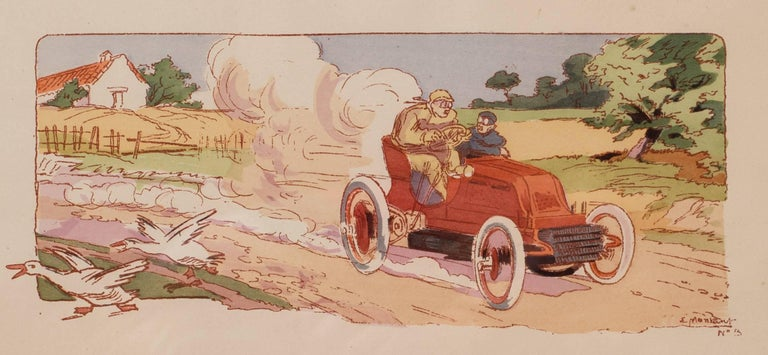 A rare and original turn of the 20th C lithograph of classic racing cars - Print by Ernest Montaut