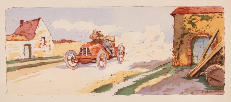 A rare and original turn of the 20th C lithograph of classic racing cars - Art Nouveau Print by Ernest Montaut