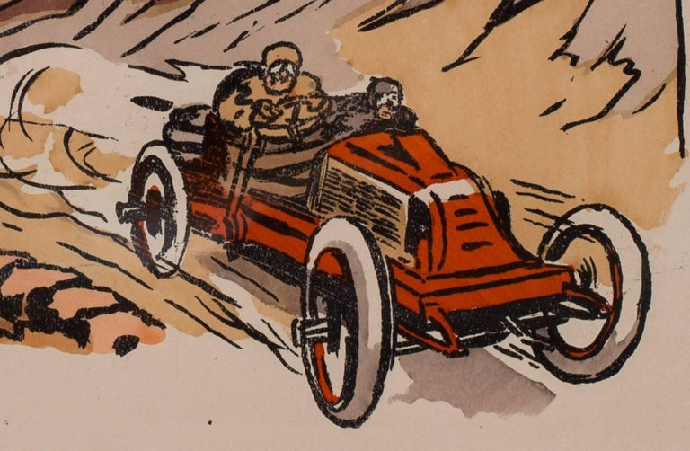 A rare and original turn of the 20th C lithograph of classic racing cars - Gray Figurative Print by Ernest Montaut