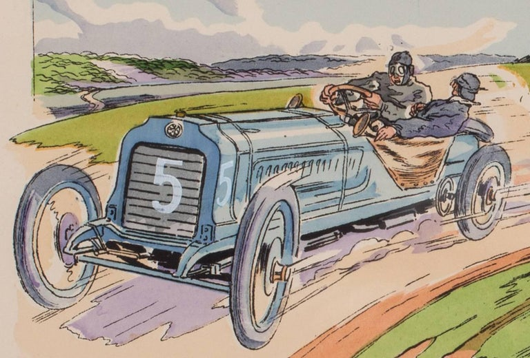 A rare and original turn of the 20th C lithograph of classic racing cars For Sale 1
