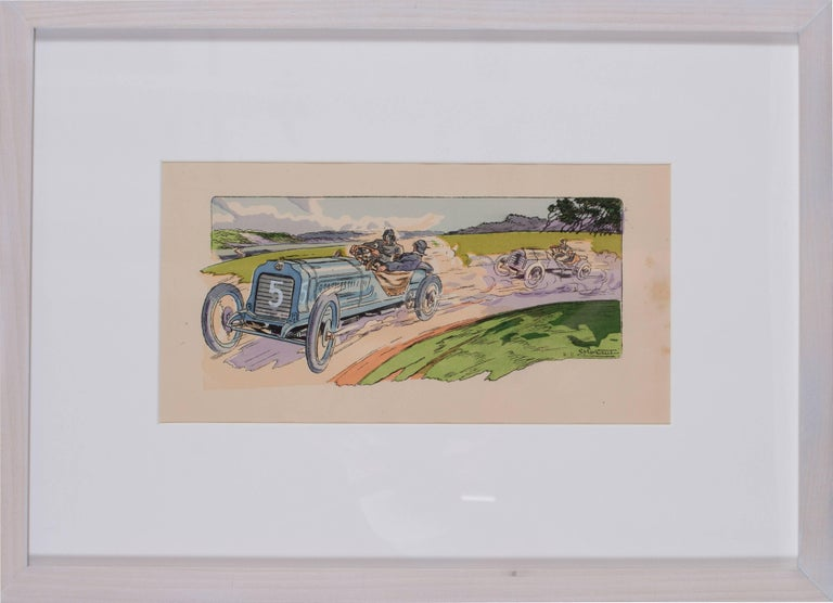 Ernest Montaut Figurative Print - A rare and original turn of the 20th C lithograph of classic racing cars
