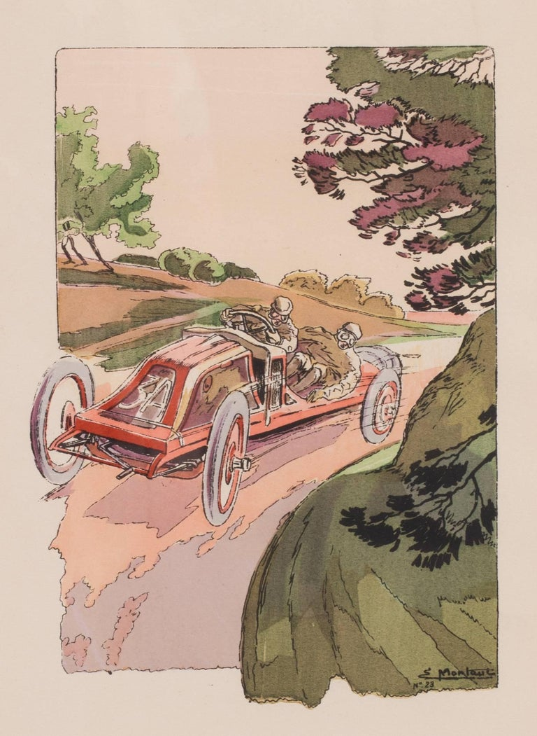 A rare and original turn of the 20th Century lithograph of classic racing cars - Print by Ernest Montaut