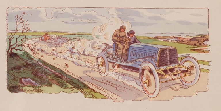 A rare and original turn of the 20th Century lithograph of classic racing cars - Art Nouveau Print by Ernest Montaut