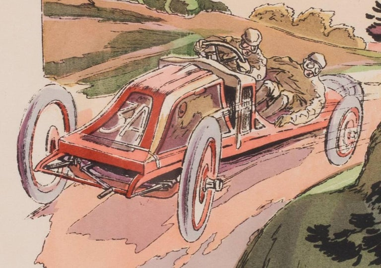 A rare and original turn of the 20th Century lithograph of classic racing cars - Gray Figurative Print by Ernest Montaut