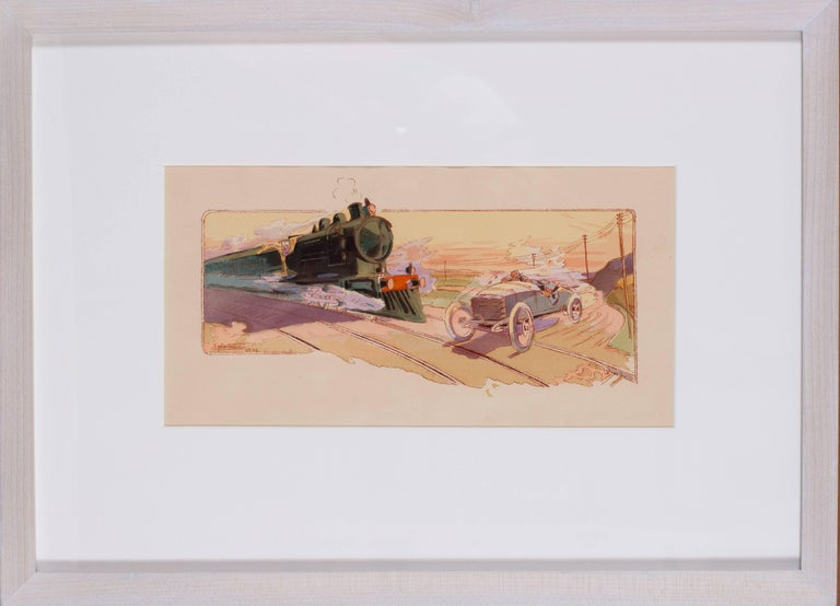 Ernest Montaut Figurative Print - A rare and original turn of the 20th century lithograph of classic racing cars