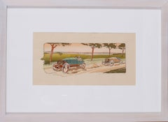 A rare and original turn of the 20th Century lithograph of classic racing cars