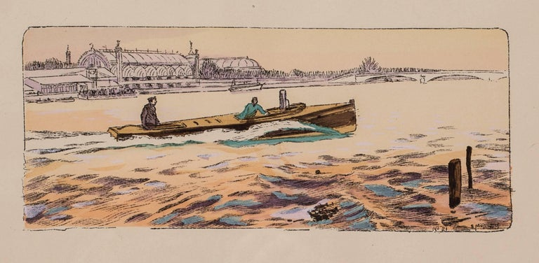 A rare and original turn of the 20th Century lithograph of motor boat racing - Art Nouveau Print by Ernest Montaut
