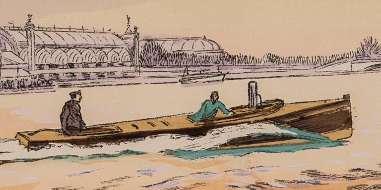 A rare and original turn of the 20th Century lithograph of motor boat racing For Sale 1
