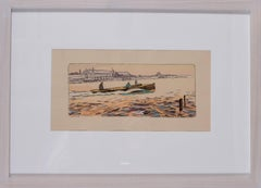 A rare and original turn of the 20th Century lithograph of motor boat racing