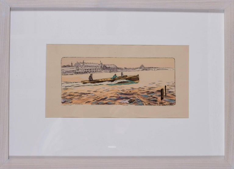 Ernest Montaut Figurative Print - A rare and original turn of the 20th Century lithograph of motor boat racing