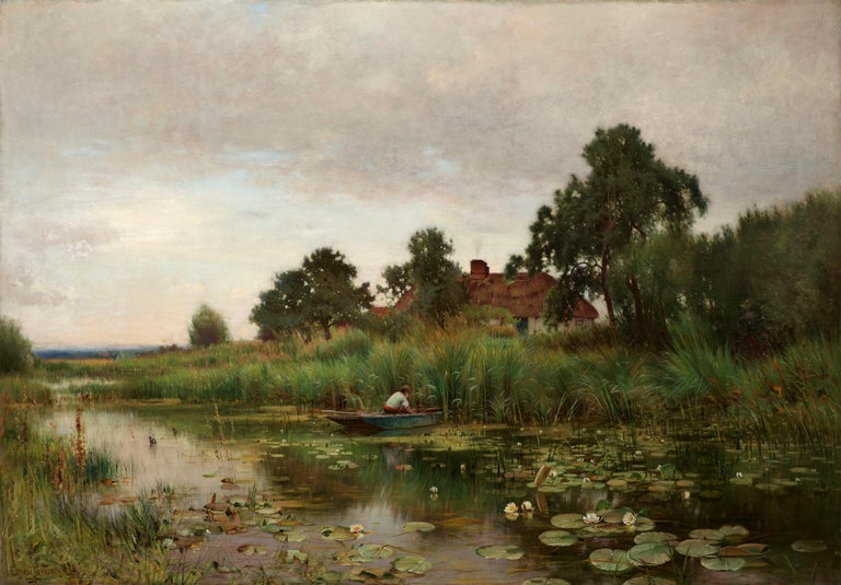 The Lily Pond - Painting by Ernest Parton