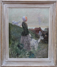 Girl with Goats in Coastal Landscape - 19thC French Impressionist oil painting