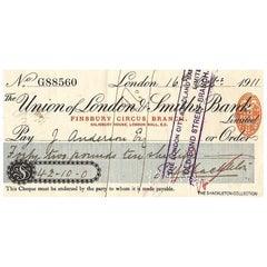 Ernest Shackleton Signed Bank Cheque
