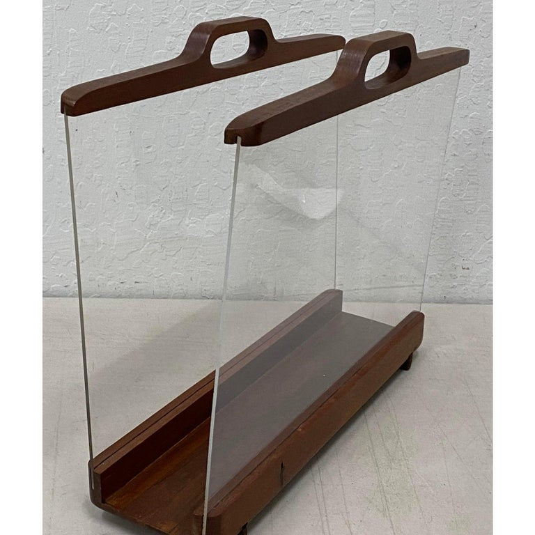 Ernest Sohn Siamese teak and acrylic magazine holder, circa 1960