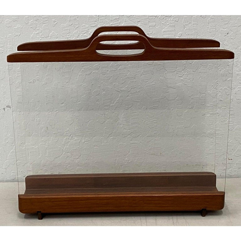 Mid-Century Modern Ernest Sohn Siamese Teak and Acrylic Magazine Holder, circa 1960 For Sale
