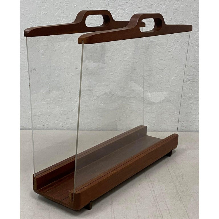 Hand-Crafted Ernest Sohn Siamese Teak and Acrylic Magazine Holder, circa 1960 For Sale