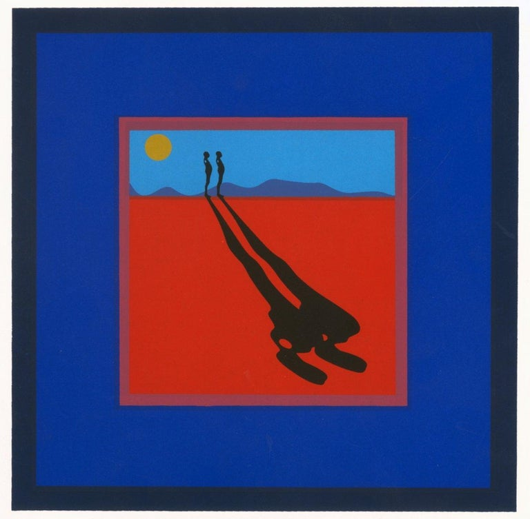 1972 Ernest Trova 'Falling Man' Pop Art Blue,Red USA Serigraph - Print by Ernest Trova
