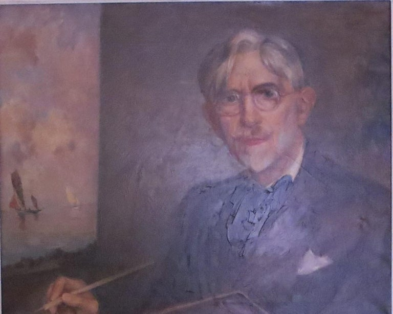 Self-Portrait of Ernest Vauthrin  - Brown Landscape Painting by Ernest Vauthrin