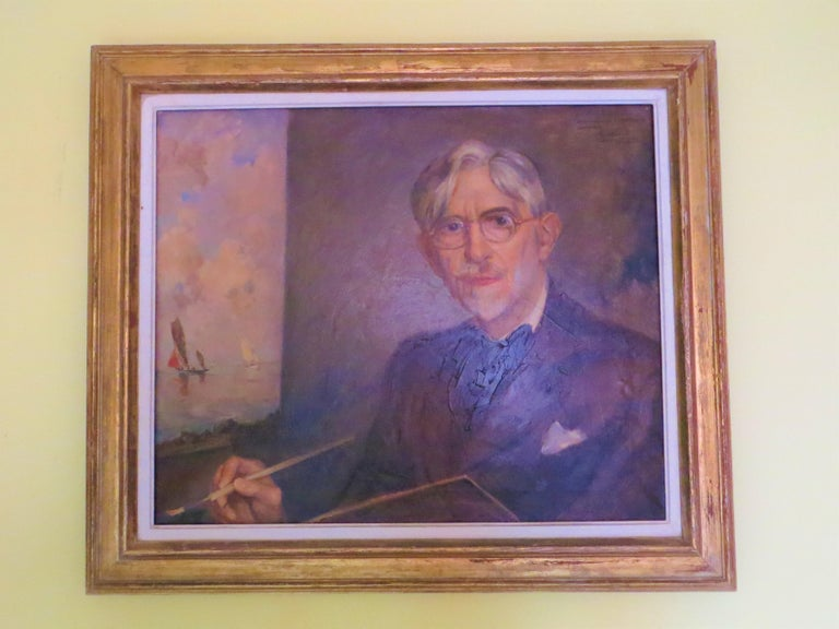 Self-Portrait of Ernest Vauthrin  - Impressionist Painting by Ernest Vauthrin