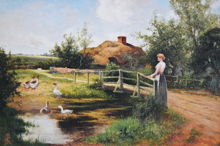 19th Century genre oil painting of a women by a pond - Painting by Ernest Walbourn