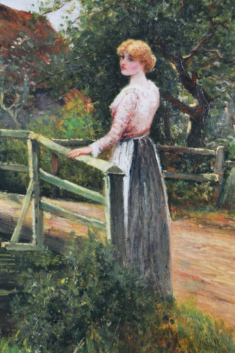 19th Century genre oil painting of a women by a pond - Brown Figurative Painting by Ernest Walbourn