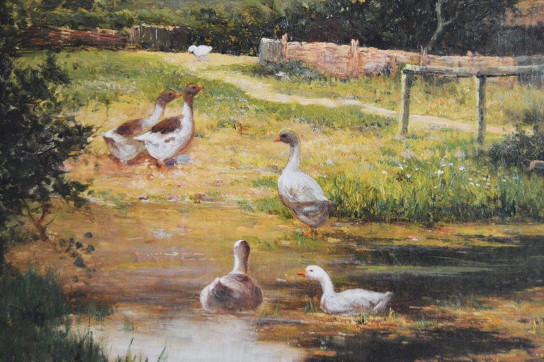 Ernest Walbourn British, (1872-1927) By the Pond Oil on canvas, signed Image size: 24 inches x 36 inches Size including frame: 31.5 inches x 43.5 inches  Ernest Walbourn was painter of landscape scenes often depicting young women and children. He