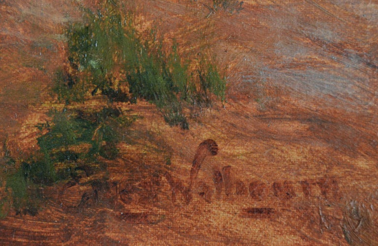 19th Century genre oil painting of a women by a pond For Sale 1