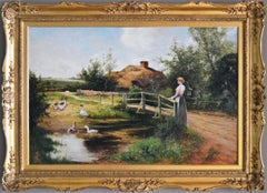 19th Century genre oil painting of a women by a pond