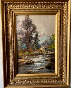 English Early 20th Century impressionist, man fishing by river landscape