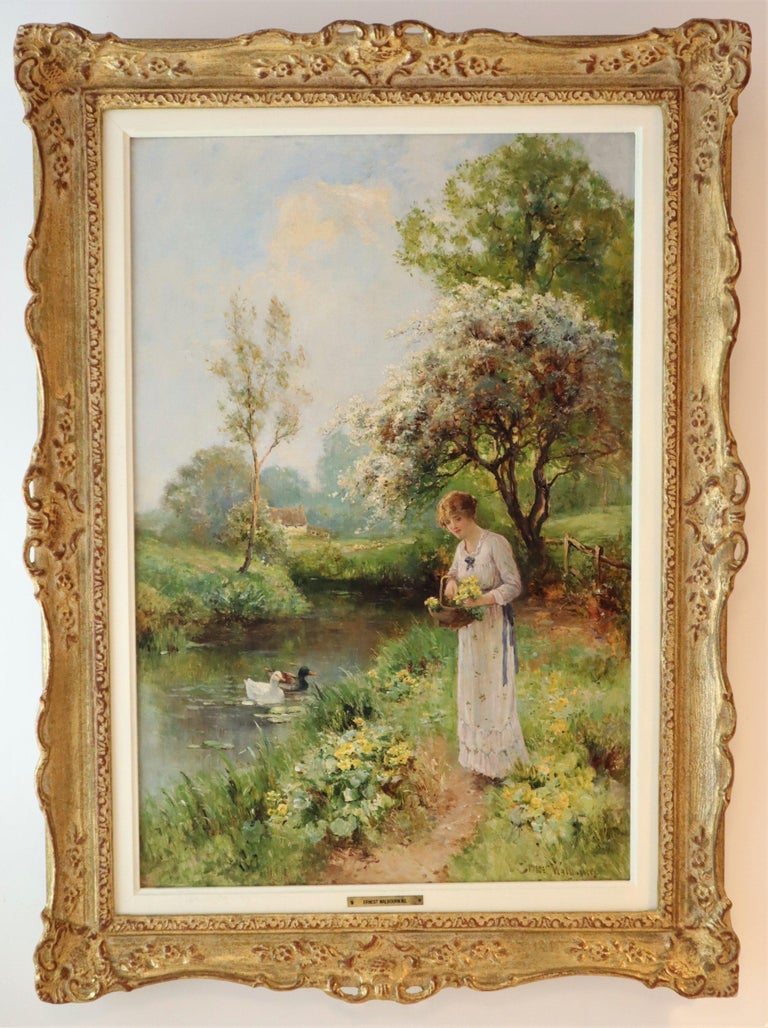 Ernest Charles Walbourn Dalston, A Young Woman Picking Spring Flowers For Sale 7