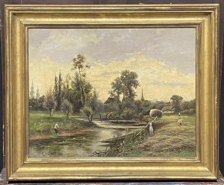 ERNEST WALBOURN (1872-1927) SIGNED ENGLISH OIL FIGURES RIVER LANDSCAPE SUNSET - Painting by Ernest Walbourn