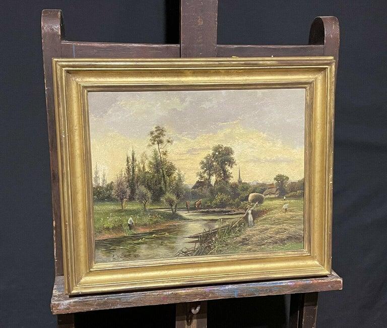 ERNEST WALBOURN (1872-1927) SIGNED ENGLISH OIL FIGURES RIVER LANDSCAPE SUNSET - Victorian Painting by Ernest Walbourn